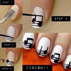 musical nails. Cept I would do the stave properly - 5 lines. I would probably also use a fine tip sharpie instead of nail art brush.
