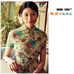 Attractive Short Sleeve Linen Cheongsam for Girls Floral-Power of the Love