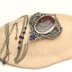 Iza Malczyk Wuriupranili necklace, opal, silver, amethyst, hessonite: http://www.izamalczyk.com/en/gallery-625-4482.html