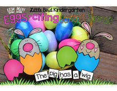"""Super- fun! EASY PREP center or small group activity - so perfect for your blossoming readers! Your kids will LOVE cracking the eggs open and solving the """"puzzle sentences""""! You will love how engaged they are in a purposeful activity! BONUS surprise painting page included!"""