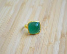 Emerald Quartz Square Ring Gold Vermeil by DimplesNGuns on Etsy Gold Rings, Gemstone Rings, Square Rings, 3, Emerald, Quartz, Gemstones, Etsy, Jewelry