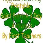 Printable Saint Patrick's Day Activities  for children prek-4th grade.   Leprechauns on the loose in pages to color, hidden pictures to find, mazes, color by letter, a word search, a word scramble, paper craft projects, addition, matching, a Saint Patrick's Day themed writing page, a picture Sudoku, color cut & paste Leprechaun hat to wear, and clover counting.