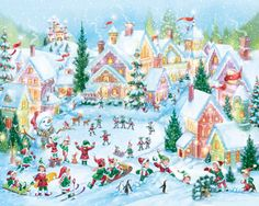 Elf Village Jigsaw Puzzle | Illustrated by Randy Wollenmann | What's New | Vermont Christmas Co. VT Holiday Gift Shop Artwork by Randy Wollenmann
