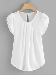 Casual Plain Top Regular Fit Round Neck Cap Sleeve White Regular Length Petal Sleeve Pleated Neck Curved Hem Blouse