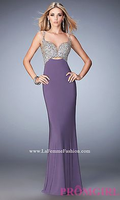 Long Prom Dress by La Femme with Beaded Top at PromGirl.com