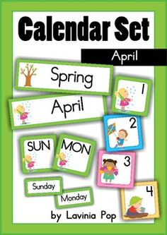 Calendar Cards Set - April This packet includes: Month card: April Season card: Spring Days of the Week: Sunday - Saturday Number Cards sets): . Classroom Calendar, School Calendar, Teaching Tools, Teacher Resources, Creative Teaching, Teaching Ideas, 4th Grade Math, Kindergarten Math, Preschool
