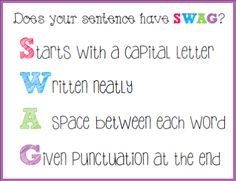 SWAG sentences... Maybe my students will remember this with the help of the acronym.