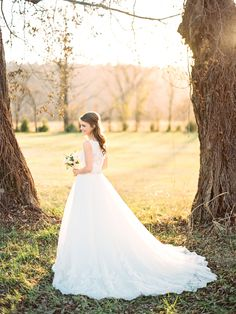Arkansas Wedding Photographer Drew Cason | Little Rock Sunny Bridal Session on Film  Full length bridal portrait in a field with trees  Contax 645 | Portra 400 | Scans by Indie Film Lab