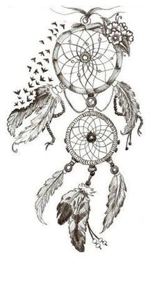 Dream catcher tattoos are a little cliche, but I love this. Atrapasueños Tattoo, Tatoo Henna, Tatoo Art, Piercing Tattoo, Tattoo Drawings, Tattoo Wolf, Tattoo Music, Tattoo Bird, Bild Tattoos