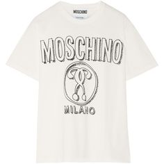 Moschino Printed cotton-jersey T-shirt (€145) ❤ liked on Polyvore featuring tops, t-shirts, shirts, white, moschino shirt, white shirt, relax shirt, over sized t shirts and white tee