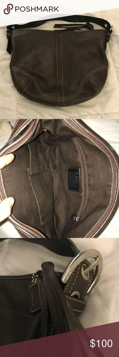 Brown leather coach purse in like-new condition Coach 💯  Like-new, beautiful, leather hobo purse Coach Bags Hobos
