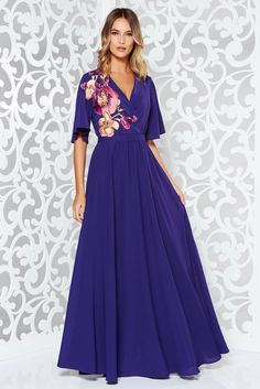 StarShinerS purple dress occasional from veil fabric with inside lining with elastic waist large sleeves, inside lining, flaring cut, elastic waist, large sleeves, 3/4 sleeves, slightly elastic fabric, back zipper fastening