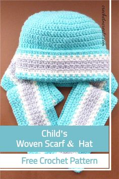 This simple Child's hat and scarf set was designed for the beginner crocheter, if you want add a flower motif to brighten it. See it on crochetncreate All Free Crochet, Crochet For Kids, Double Crochet, Single Crochet, Hat And Scarf Sets, Scarf Hat, Woven Scarves, Crochet Baby Clothes, Italian Greyhound