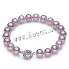 Freshwater Cultured Pearl Bracelet, Freshwater Pearl, brass foldover clasp, Potato, natural, different size for choice & micro pave cubic zirconia, purple,china wholesale jewelry beads