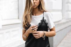 The slip dress over t-shirt trend