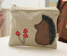 Handmade linen hedgehog purse - machine embroidered purse - made in the UK