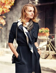 Love the combination scarf with coat...navy...beautiful.