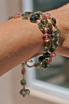 Rebekah Graves via Karen Starbuck to Jewelry.  What a Gem Tourmaline Wire Wrapped Bracelet by RustyRoxx on Etsy, $84.00