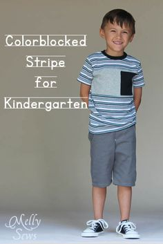Sewing for Kindergarten - Colorblocked Tee Times 3 and Clean Slate Shorts - Melly Sews