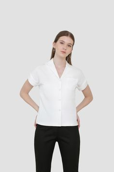 Myra Lapel Shirt in White Affordable Fashion, Ready To Wear, Spring, How To Wear, Shirts, Clothes, Tops, Women, Outfits