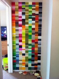 Paint chips - do in a smaller scale on a piece of plywood, add hanger, hang in teen room.