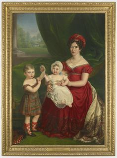 1823 Augusta of Hesse-Kassel, Duchess of Cambridge, with her two elder children, George and Augusta, by Melchior Gommar Tieleman Queen Mary, Princess Mary, Royal Collection Trust, Regency Dress, Regency Era, Empire Style, Queen Victoria, Mother And Child, Family Portraits