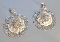 Crochet Bridal Earrings Filigree by IrmasElegantBoutique on Etsy