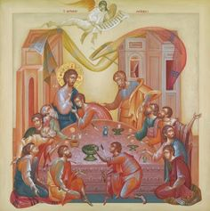 Greece -by George Kordis ~~~. Last Supper Religious Images, Religious Art, Holy Thursday, Christian Artwork, Life Of Christ, Architecture Art Design, Best Icons, Eucharist, Last Supper