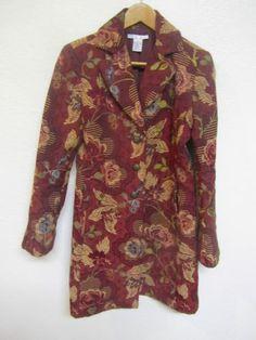 CAbi Rose Bordeux Brown Tapestry Brocade Long Coat Women's Size 4 Pristine | eBay