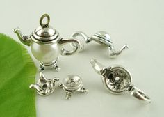 10 New Sets Silver Tone Teapot Bead Cap Set Findings 21x9mm #Unbranded