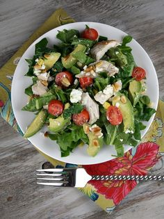 Chicken, avocado and goat cheese salad.  Healthy and heavenly all at once. @recipegirl