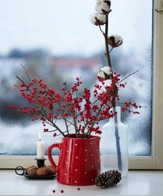 Red & White Christmas :: SO PERFECT! I'll use my red enamel coffee pot, cotton boles, pine cones, and display on the oak Hoosier cabinet!