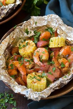 Maximum flavor, minimal cleanup. Plus, you don't have to even think about a side!  - Grilled Shrimp Boil Packets