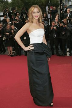 Jennifer Lawrence Strapless Dress - Jennifer opted for a black and white structured piece that featured an asymmetrical side ruffle.