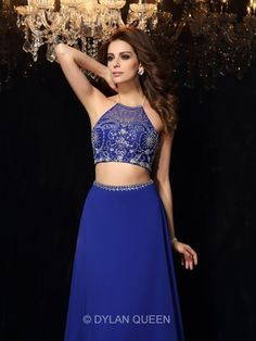 Blue two-piece prom dresses