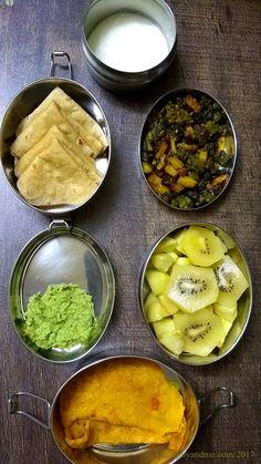 Lunchbox Idea 22 Short Break: Oats-Besan Chilla, Ridge Gourd Chutney [ Peerkangai Thogayal], Kiwi and pear] Lunch : Phulka, Bhindi-Aalu Sabzi and curd.