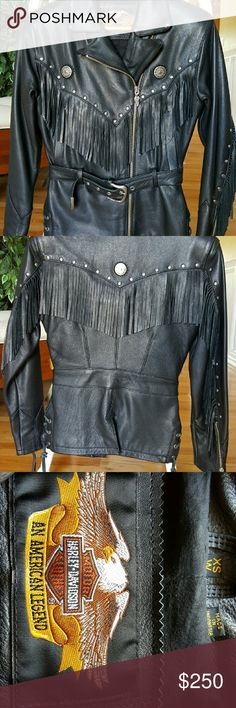 Women's Harley Davidson Leather Motorcycle Jacket Form fitted, sexy, and warm this jacket is perfect for cool weather. Fringe detail on arms and back. Lots of hidden little pockets This beautiful jacket is in excellent condition and has been worn once. It has a snug fit. The waist measurement from the outside is approximately 29 1/2 and length is 25. Harley-Davidson Jackets & Coats