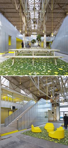 """We're finding so many #vibrant #office interiors today!. Located in Rotterdam, the converted steel mill now houses a bright, airy office space. My favorite detail? The """"outdoor"""" seating and eating areas! Spectacular."""