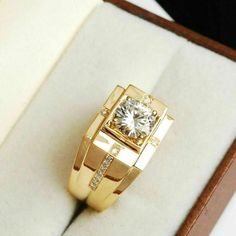 New Mens Yellow Gold White Diamond Ring Solitaire Band Pinky Ring Carat Men's Jewelry Rings, Jewelry Watches, Jewelry Stand, Gold Jewellery, Man Jewelry, Mens Gold Jewelry, Quartz Jewelry, Cross Jewelry, Yoga Jewelry