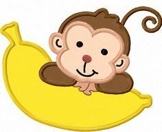 Monkey With Banana Applique Machine Embroidery Design NO:0019