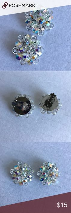 VTG Crystal Cluster Clip On Earrings Can you say sparkle?  Beautiful clip ons from a time past!  Vintage Jewelry Earrings