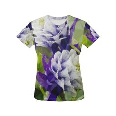 Purple Columbine Low Poly Floral Art All Over Print T-Shirt for Women (USA Size) (Model T40)