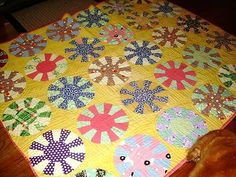 Vintage Quilt Hand Made 1920's to 1930's Dresden Plate Pattern | eBay-might be fun to use Kaffe prints?