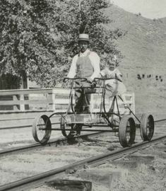 "A ""Hartley & Teeter Track Inspection Pedicycle"", manufactured by the the Light Inspection Car Co. of Hagerstown, Indiana circa 1880."