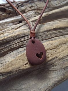 Scottish Sea Pebble Carved Heart Necklace by byNaturesDesign, $18.00