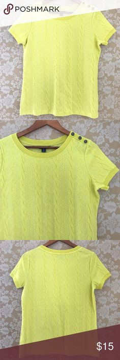 "Lands' End Cable Jacquard Short Sleeve Top A great layering top for fall, this bright chartreuse cable knit top by Lands End is in great condition. Scoop neck, Short sleeve, with three anchor buttons embellishments on the left shoulder. Technical color name is ""limelight."" Polyester, cotton, spandex blend, with an acrylic and wool blend trim. Approx. measurements when laid flat: 26"" length, 21"" bust, 21.5"" bottom hem. Lands' End Sweaters Crew & Scoop Necks"