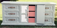 Seafoam and Coral Retro Dresser- cute for little girl's room