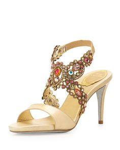 dd84946e6ab Jeweled Metallic Halter Sandal