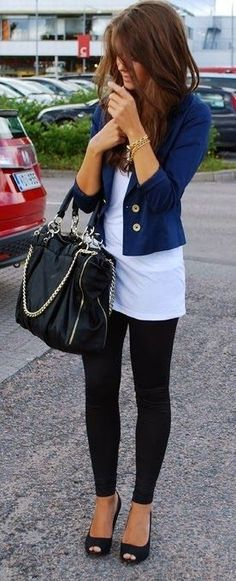 Black Leggins, Simple Long White Tee Shirt, Navy Jacket And Black Leather Bag
