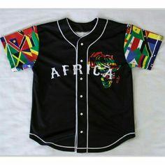 Mizizi Exclusive Black Africa Baseball Jersey Sold Out Exclusive Pan African Mizizi Baseball Jersey Black #BLKR Mizizi Clothing Tops Button Down Shirts